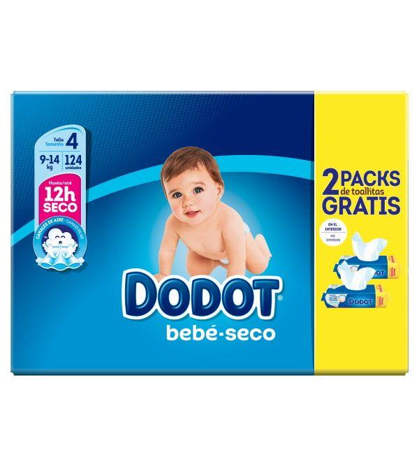 Bebé Seco Talla 4 124 ud + Regalo 2 Packs Toallitas