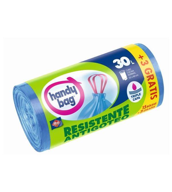 Handy Bag Bolsa Basura Resistente Antibacterias 30L   18 uds