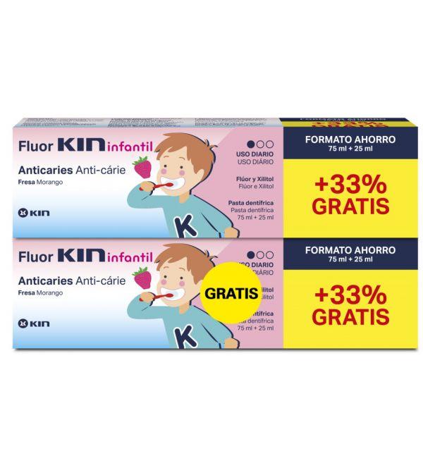 Fluor Kin Junior Pasta Dentífrica Anticaries Fresa | 2 uds