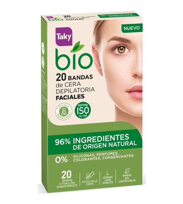 Bio Bandas de Cera Depilatoria Facial 20 ud + 2 Toallitas
